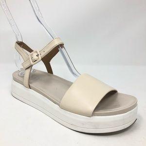 Franco Sarto Wedge Sandal beige white size 6.5